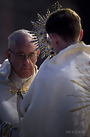 Pope Francis during a Corpus Domini procession between the basilicas San Giovanni in Laterano and Santa Maria Maggiore on in Rome.18 June 2017