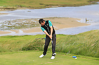 Ed Stack (Ballybunion) on the 9th tee during Round 3 of The South of Ireland in Lahinch Golf Club on Monday 28th July 2014.<br /> Picture:  Thos Caffrey / www.golffile.ie