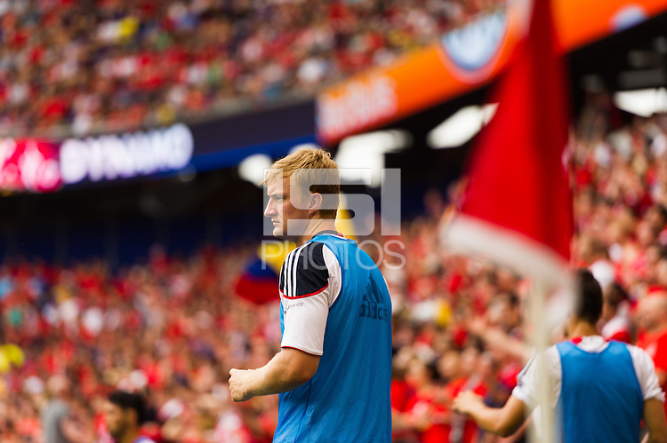New York Red Bulls goalkeeper Ryan Meara (18) watches from the sidelines. The New York Red Bulls defeated the Houston Dynamo 2-0 during a Major League Soccer (MLS) match at Red Bull Arena in Harrison, NJ, on June 30, 2013.