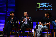 WASHINGTON, DC - JUNE 8: Michael Bonfiglio, Carl Pope and Misti O'Quinn participate in a Q&A panel discussion following an advanced screening of 'From the Ashes' presented by National Geographic and Bloomberg Philanthropies at National Geographic Headquarters on June 8, 2017 in Washington, DC. (Photo by Don Baxter/National Geographic/PictureGroup)