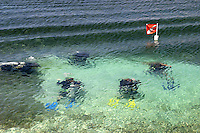 These SCUBA divers are becoming certified on the Island of Roatan located on the second largest barrier reef in the world. Roatan is famous for its diving resorts..