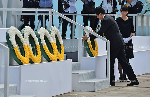 Shinzo Abe, August 9, 2016, Nagasaki, Japan : Japan's Prime Minister Shinzo Abe attends a ceremony of marking the 71th anniversary of the atomic bombing at Peace Park in Nagasaki, Japan, on August 6, 2016. (Photo by AFLO)