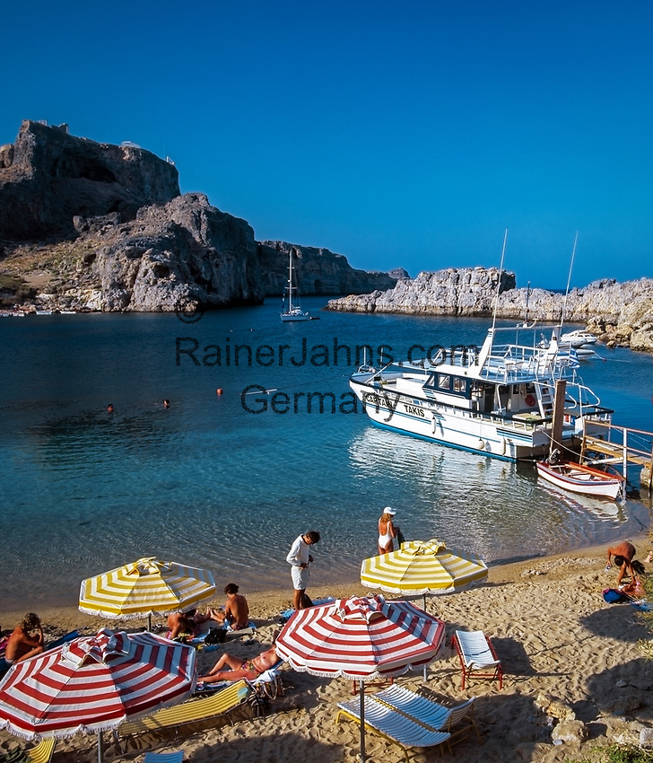 Griechenland, Dodekanes, Rhodos, Lindos: St. Paul's Bay | Greece, Dodekanes, Rhodes, Lindos: St. Paul's Bay