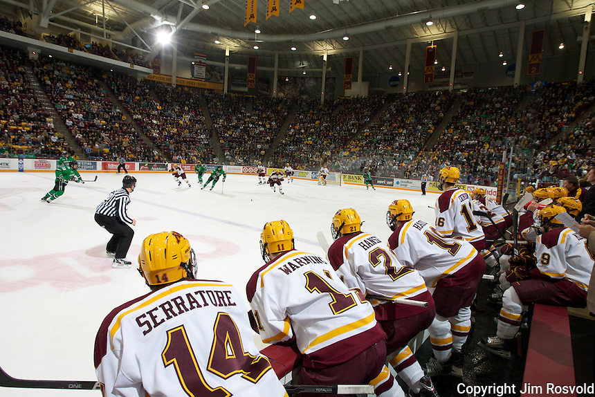 4 Nov 11: Action from Minnesota Bench.  The University of Minnesota Golden Gophers host the University of North Dakota Fighting Sioux in a WCHA matchup at Mariucci Arena in Minneapolis, MN.