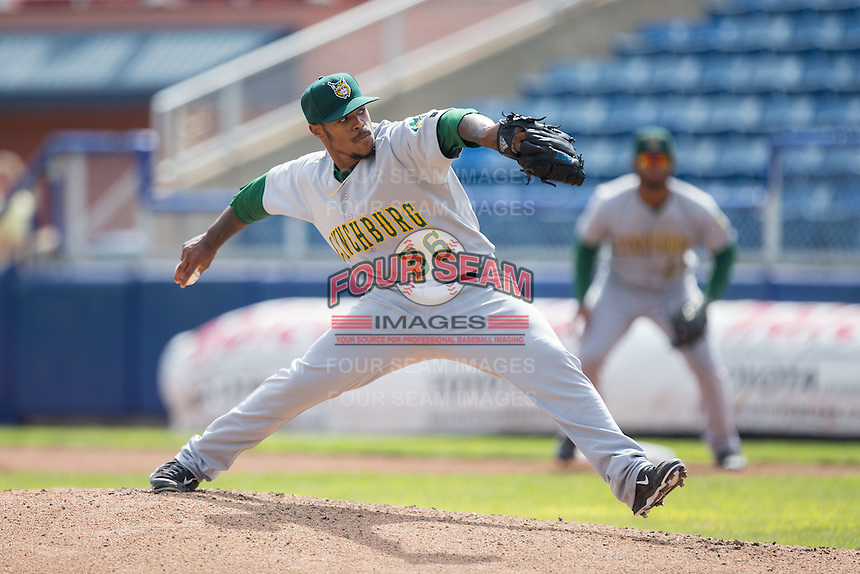 Lynchburg Hillcats starting pitcher Jared Robinson (36) in action against the Salem Red Sox at LewisGale Field at Salem Memorial Baseball Stadium on August 7, 2016 in Salem, Virginia.  The Red Sox defeated the Hillcats 11-2.  (Brian Westerholt/Four Seam Images)