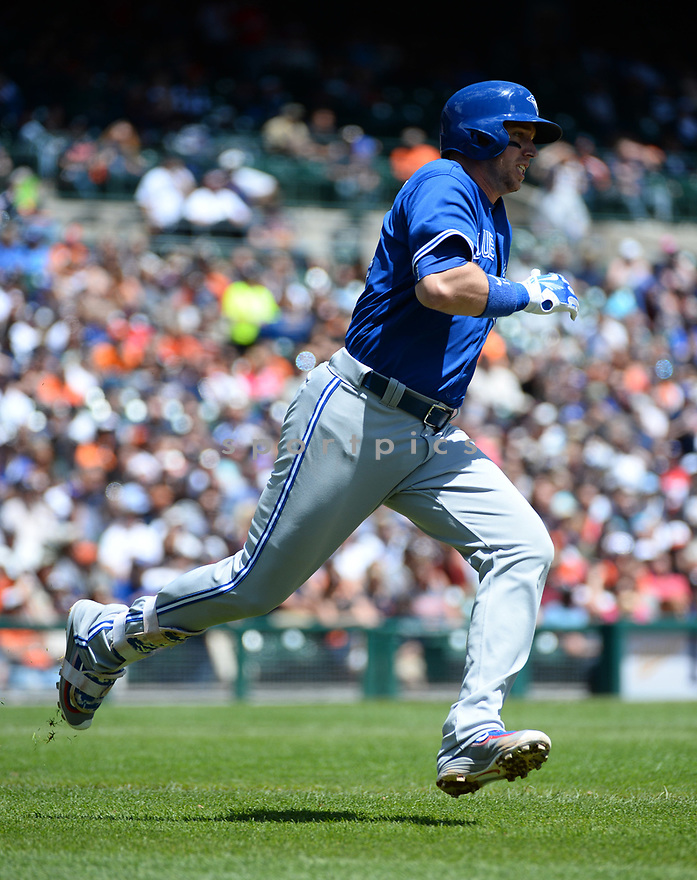 Toronto Blue Jays Justin Smoak (14) during a game against the Detroit Tigers on June 8, 2016 at Comerica Park in Detroit MI. The Blue Jays beat the Tigers 7-2.
