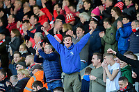Lincoln City fans celebrate after securing promotion from Sky Bet League Two<br /> <br /> Photographer Chris Vaughan/CameraSport<br /> <br /> The EFL Sky Bet League Two - Lincoln City v Cheltenham Town - Saturday 13th April 2019 - Sincil Bank - Lincoln<br /> <br /> World Copyright © 2019 CameraSport. All rights reserved. 43 Linden Ave. Countesthorpe. Leicester. England. LE8 5PG - Tel: +44 (0) 116 277 4147 - admin@camerasport.com - www.camerasport.com