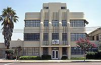 Los Angeles: Winnie & Sutch Co. Building, 1935. (Oddly, no architect identified.) Originally Lane Wells Building. Streamline Moderne. Photo '85.