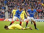 29.11.18 Rangers v Villarreal: Daniel Candeias gets involved with Santiago Caseres leading to a second booking from the ref and a sending off