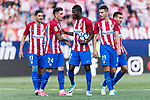 Jose Maria Gimenez de Vargas (L) and Thomas Teye Partey of Atletico de Madrid (C) talks during the La Liga match between Atletico de Madrid vs Osasuna at Estadio Vicente Calderon on 15 April 2017 in Madrid, Spain. Photo by Diego Gonzalez Souto / Power Sport Images