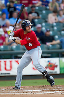 Oklahoma City RedHawks third baseman Brandon Laird (4) at bat during the Pacific Coast League baseball game against the Round Rock Express on July 9, 2013 at the Dell Diamond in Round Rock, Texas. Round Rock defeated Oklahoma City 11-8. (Andrew Woolley/Four Seam Images)