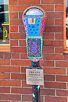 Parking Meter to help support homeless, Laguna Beach CA, seaside resort, artist community, located in southern, Orange County, California, United States