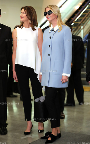 "November 2, 2017, Narita, Japan - Ivanka Trump (R), a daughter and senior adviser of the U.S. President Donald Trump smiles with Chrissy Hagerty (L), wife of U.S. Ambassador to Japan William Hagerty upon her arrival at the Narita International Airport in Narita, suburban Tokyo on Thursday, November 2, 2017. Ivanka Trump is now in Japan to attend a women's empowerment conference ""World Assembly for Women"".    (Photo by Yoshio Tsunoda/AFLO) LWX -ytd-"