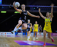Sam Sinclair takes a pass during the Constellation Cup Series international netball match between the New Zealand Silver Ferns and Samsung Australian Diamonds at TSB Bank Arena in Wellington, New Zealand on Thursday, 18 October 2018. Photo: Dave Lintott / lintottphoto.co.nz