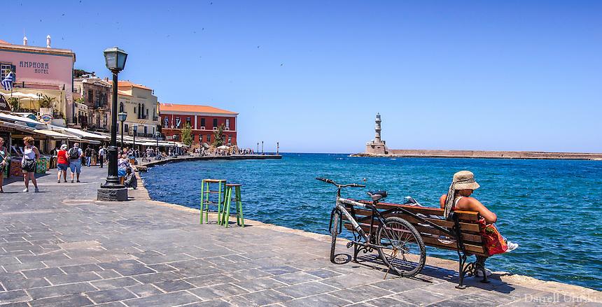 Fine Art Print Photograph. Colourful Greek fishing port located in Chania, Crete, Greece.