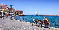 Fine Art Print Photograph. Colourful Greek fishing port located in Chania, Crete, Greece.