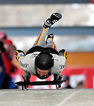 15 December 2006: Kerstin Juergens, of Germany, starts her run at the FIBT Women's World Cup Skeleton Competition at the Olympic Sports Complex on Mount Van Hoevenburg  in Lake Placid, New York, USA.&amp;#xA;&amp;#xA;Mandatory Photo credit: Ed Wolfstein Photo<br />