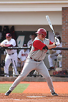 Jerrud Sabourin #35 of the University of Indiana Hoosiers at bat during a game against the Virginia Tech Hokies at Watson Stadium at Vrooman Field in Conway, South Carolina on February 18, 2011. Photo by Robert Gurganus/Four Seam Images