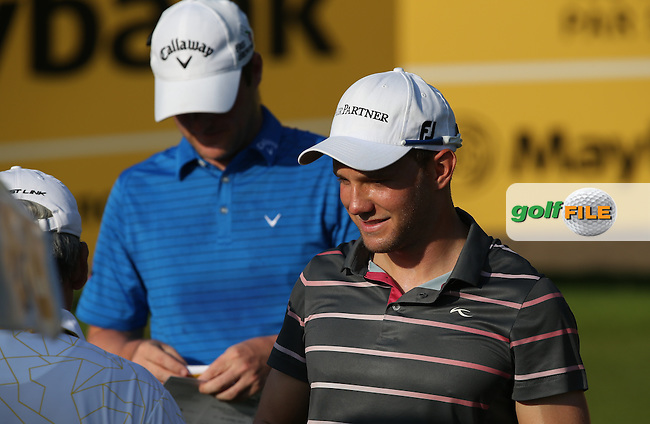 Maximilian  Kieffer (GER) on the 10th tee sporting a new cap sponsor Air Partner during Round Three of the 2014 Maybank Malaysian Open at the Kuala Lumpur Golf & Country Club, Kuala Lumpur, Malaysia. Picture:  David Lloyd / www.golffile.ie
