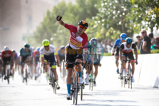 Phil Bauhaus (GER) Bahrain-Mclaren wins Stage 5 of the Saudi Tour 2020 running 144km from Princess Nourah University to Al Masmak, Saudi Arabia. 8th February 2020. <br /> Picture: ASO/Pauline Ballet | Cyclefile<br /> All photos usage must carry mandatory copyright credit (© Cyclefile | ASO/Pauline Ballet)