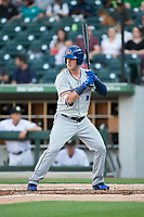 Casey Gillaspie (16) of the Durham Bulls at bat against the Charlotte Knights at BB&T BallPark on May 15, 2017 in Charlotte, North Carolina. The Knights defeated the Bulls 6-4.  (Brian Westerholt/Four Seam Images)