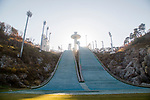 Alpensia Ski Jumping Centre, Oct 30, 2017 : Alpensia Ski Jumping Centre in Alpensia Olympic Park of the 2018 PyeongChang Winter Olympics is seen in PyeongChang, east of Seoul, South Korea. The 23rd Winter Olympics will be held for 17 days from February 9 - 25, 2018. The opening and closing ceremonies and most snow sports will take place in PyeongChang county. Jeongseon county will host Alpine speed events and ice sports will be held in the coast city of Gangneung. (Photo by Lee Jae-Won/AFLO) (SOUTH KOREA)