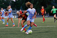 Rochester, NY - Friday July 01, 2016: Chicago Red Stars defender Casey Short (6), Western New York Flash midfielder Lianne Sanderson (10) during a regular season National Women's Soccer League (NWSL) match between the Western New York Flash and the Chicago Red Stars at Rochester Rhinos Stadium.