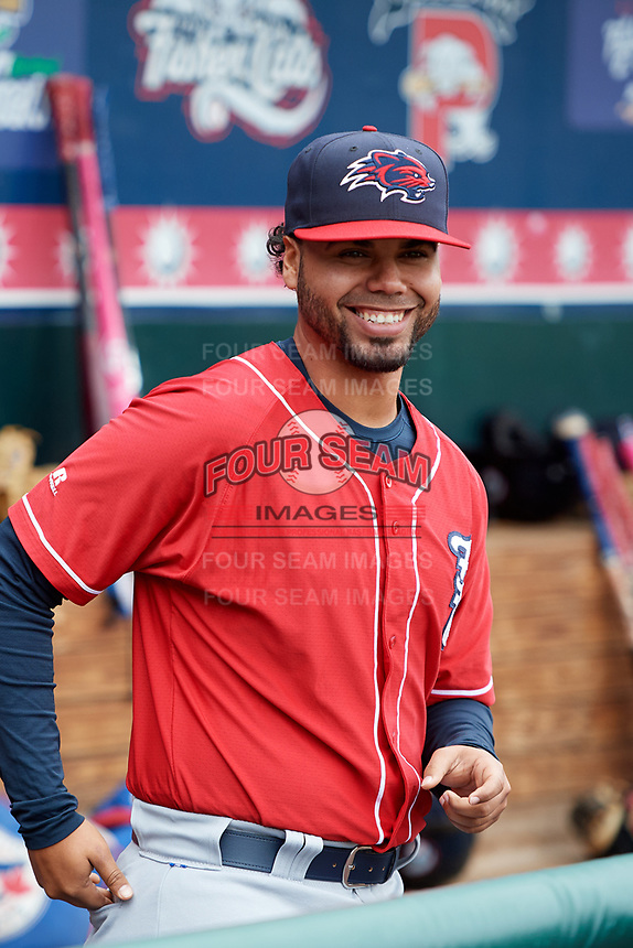 New Hampshire Fisher Cats coach Andy Fermin (2) in the dugout during the first game of a doubleheader against the Harrisburg Senators on May 13, 2018 at FNB Field in Harrisburg, Pennsylvania.  New Hampshire defeated Harrisburg 6-1.  (Mike Janes/Four Seam Images)