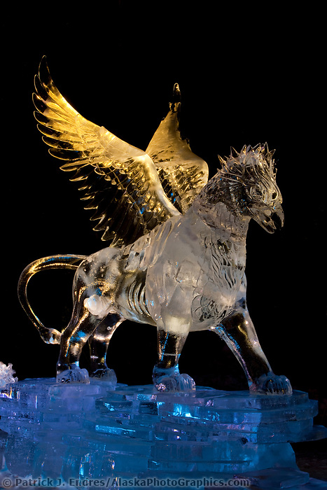 """Guardian Angle of Mischief"" Multi block realistic category of the 2009 World Ice Art Championships in Fairbanks, Alaska. Sculpted by Heather Brice, Kevin Gregory, Jeff Stahl, Steve Cox."