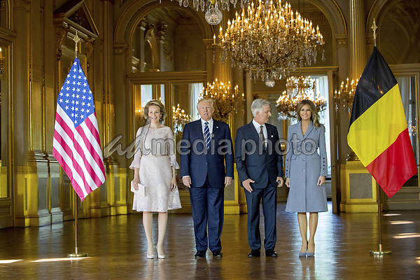 24-05-2017 Belgium Queen Mathilde and King Filip during pose with US President Donald Trump and First Lady Melania Trump in Brussels. Photo Credit: PPE/face to face/AdMedia