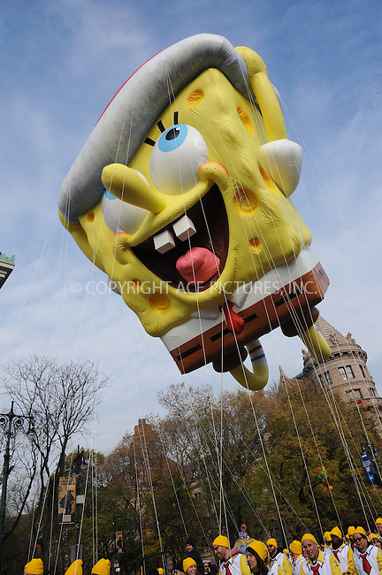 www.acepixs.com<br /> <br /> November 24 2016, New York City<br /> <br /> Spong Bob Square Pants balloon at the 90th Annual Macy's Thanksgiving Day Parade on November 24, 2016 in New York City. <br /> <br /> By Line: Kristin Callahan/ACE Pictures<br /> <br /> <br /> ACE Pictures Inc<br /> Tel: 6467670430<br /> Email: info@acepixs.com<br /> www.acepixs.com