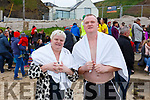 Breda O'Keefee and Eamonn Davern at the annual Connie Hartnett Memorial swim in Ballybunion on New Years Day.