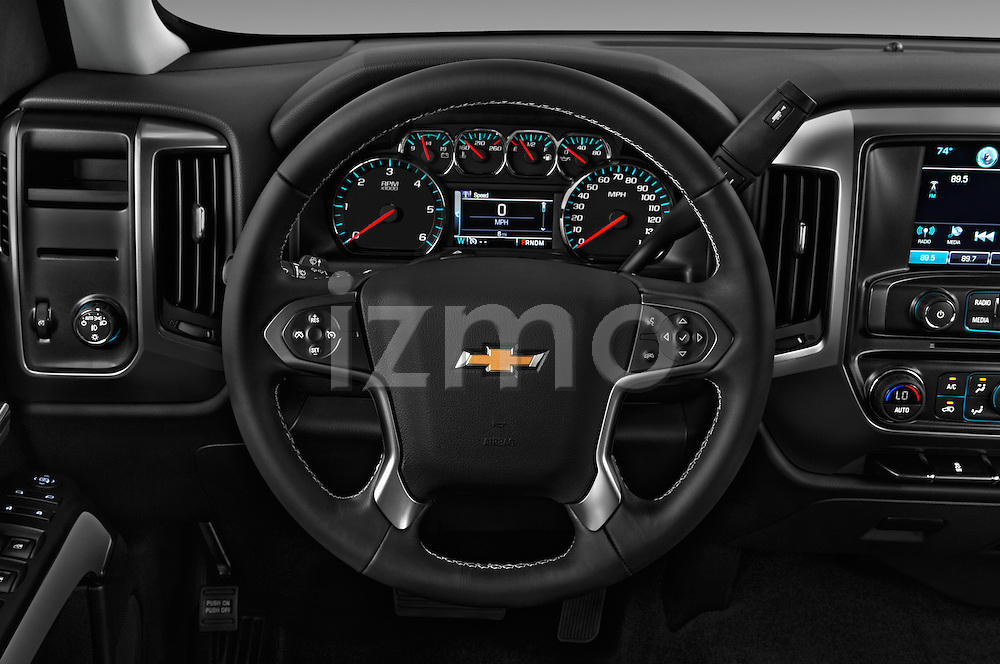 Car pictures of steering wheel view of a 2018 Chevrolet Silverado-1500 LT-Double-Cab-Std-Box 4 Door Pick-up Steering Wheel