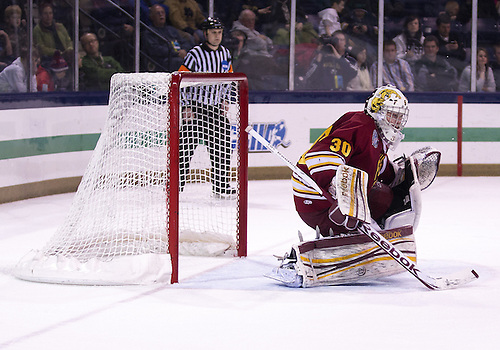 January 25, 2013:  Ferris State goaltender CJ Motte (30) makes the save during NCAA Hockey game action between the Notre Dame Fighting Irish and the Ferris State Bulldogs at Compton Family Ice Arena in South Bend, Indiana.  Ferris State defeated Notre Dame 3-1.