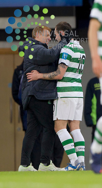 Celtic Manager Neil Lennon congratulates Anthony Stokes after his goal when he is subed during the Scottish Communities League cup semi - final Falkirk FC v Celtic F.C, at Hampden park..Picture: Maurice McDonald/Universal News And Sport (Scotland). 29 January 2012. www.unpixs.com.
