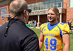 BROOKINGS, SD - AUGUST 11: Justin Syrovatka #49 of South Dakota State University football talks to Craig Mattick Monday afternoon at the Jacks Media Day in Brookings. (Photo by Dave Eggen/Inertia)