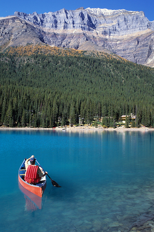 Canoe on lake Louise in Banff National Park
