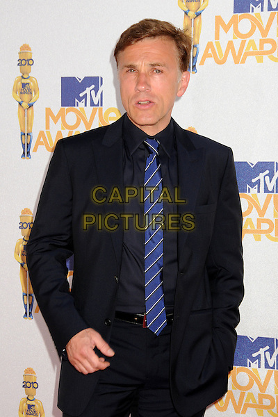 CHRISTOPH WALTZ .MTV Movie Awards 2010 - Arrivals held at the Gibson Amphitheatre, Universal City, California, USA, 6th June 2010..half length suit  black blue tie .CAP/ADM/BP.©Byron Purvis/AdMedia/Capital Pictures.
