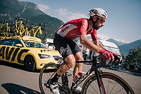 Thomas de Gendt (BEL/Lotto-Soudal) up the final climb of the day (in Spain!): the Col du Portillon (Cat1/1292m)<br /> <br /> Stage 16: Carcassonne > Bagnères-de-Luchon (218km)<br /> <br /> 105th Tour de France 2018<br /> ©kramon