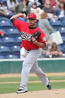 Yoervis Medina #32 of the High Desert Mavericks pitches against the Rancho Cucamonga Quakes at The Epicenter in Rancho Cucamonga,California on May 8, 2011. Photo by Larry Goren/Four Seam Images