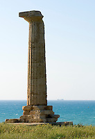 Italy, Calabria, near Crotone: only left Doric column of Greek temple of Hera Lacinia at Museo del Parco Archeologico di Capo Colonna
