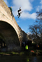 01/01/19<br /> <br /> New Year's Day revellers celebrate 2019 by leaping from a bridge into the river Dove in Mapleton, in the Derbyshire Peak District.<br /> <br /> All Rights Reserved, F Stop Press Ltd. (0)1335 344240 +44 (0)7765 242650  www.fstoppress.com rod@fstoppress.com