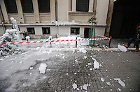 Pictured: Thick ice falls on a road in central Salonika, Greece. Monday 09 January 2017<br /> Re: Severe cold weather affects Salonica in northern Greece