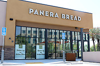 LOS ANGELES - APR 11:  Panera Bread Resturant Front Signage at the Businesses reacting to COVID-19 at the Hospitality Lane on April 11, 2020 in San Bernardino, CA