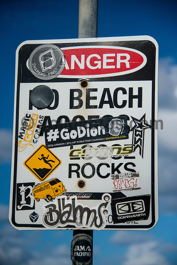 Snapper Rocks, Coolangatta, Queensland Australia. (Saturday March 1, 2014) Dion Atkinson (AUS) hastag on a sign at D-Bah. #godion–  The swell  stayed in the 2'-3' range overnight with some clean mid tide waves early at Snapper Rocks but the SE wind blew out conditions later in the day. Photo: joliphotos.com