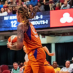 August 27th, 2019: The Phoenix Mercury [orange] defeated the Liberty of New York 95-82 in WNBA action.  The Mercury had a balanced effort in the game played at Westchester County Center in White Plains, New York. Dan Heary/Eclipse Sportswire/CSM