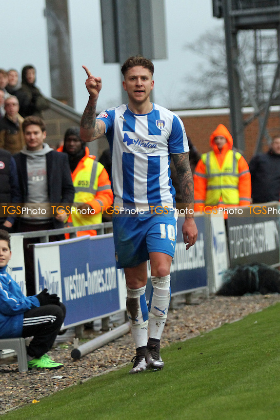 George Moncur of Colchester United celebrates his goal during Colchester United vs Charlton Athletic, Emirates FA Cup Football at the Weston Homes Community Stadium, Colchester, England on 09/01/2016