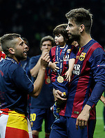 Calcio, finale di Champions League Juventus vs Barcellona all'Olympiastadion di Berlino, 6 giugno 2015.<br /> FC Barcelona's Gerard Pique' celebrates at the end of the Champions League football final between Juventus Turin and FC Barcelona, at Berlin's Olympiastadion, 6 June 2015. Barcelona won 3-1.<br /> UPDATE IMAGES PRESS/Isabella Bonotto
