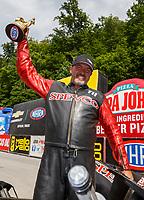 Jun 18, 2017; Bristol, TN, USA; NHRA top fuel nitro Harley Davidson motorcycle rider Tii Tharpe celebrates after winning the Thunder Valley Nationals at Bristol Dragway. Mandatory Credit: Mark J. Rebilas-USA TODAY Sports