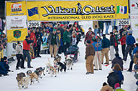 Musher Jennifer Cochran in Fairbanks on the Chena River at the start of the 1000 mile Yukon Quest sled dog race 2006, between Fairbanks, Alaska and Whitehorse, Yukon. Dubbed the toughest dogsled race in the world.